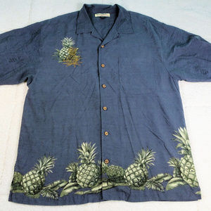 Tommy Bahamas Gray Pineapple Button Up Shirt Large